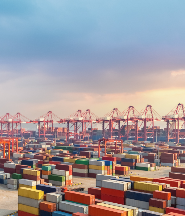 Busy Shanghai container terminal at dusk