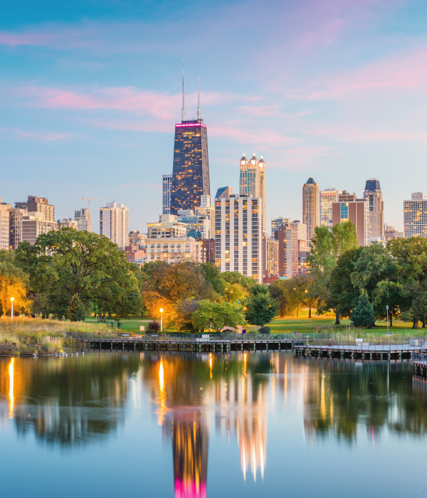 Chicago downtown skyline from Lincoln Park at twilight.